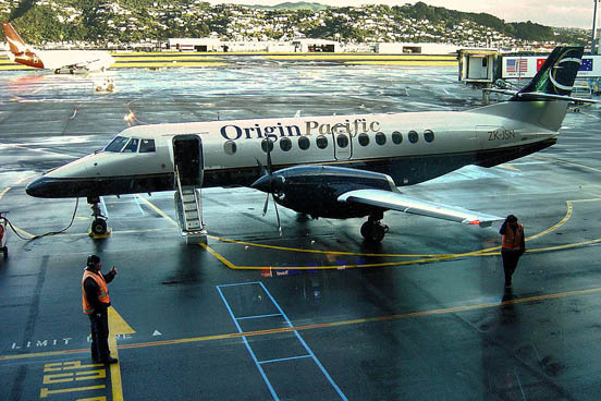 Jetstream 41 of now-defunct Origin Pacific Airways at Wellington International Airport in June 2004.