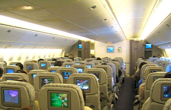 Economy class interior of EVA Air 777-300ER in 3-3-3 layout