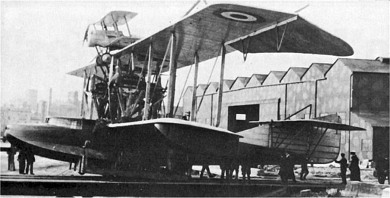 Bristol Scout parasite fighter atop the Felixstowe Porte Baby, 1916.