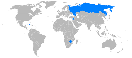 Countries with airline orders for the Il-96