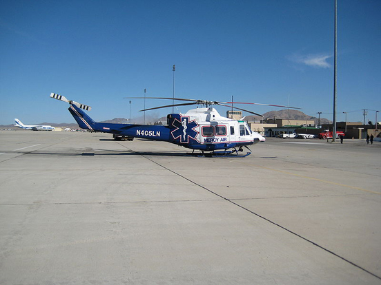 A Mercy Air Bell 412 at Victorville Airport