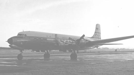 Pan Am DC-6B at London Heathrow in September 1954 on a tourist flight