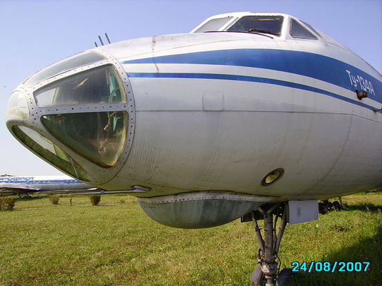 Tupolev Tu-134A with its radar and glass nose