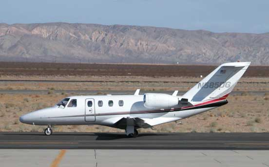 CitationJet taxiing after landing at Mojave Airport in 2007