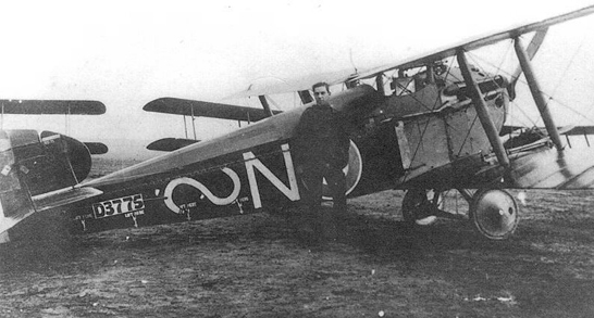 Dolphin of No. 87 Squadron, showing Lewis gun mounted atop the lower right wing