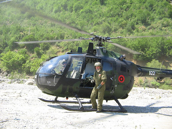 The first Bo 105E-4 that entered service with the Albanian Air Brigade in 2006