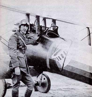 Rickenbacker with his Nieuport 28 – note offset guns
