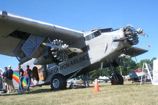 Grand Canyons Airlines Ford Trimotor (note the deployed wing cargo pannier)