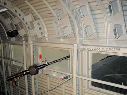 Internal view of Ju 52 showing a beam defensive MG 15 gun and ammo racks