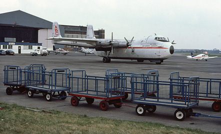 Argosy G-BEOZ, operating for Air Bridge Carriers at Liverpool Speke Airport in 1981