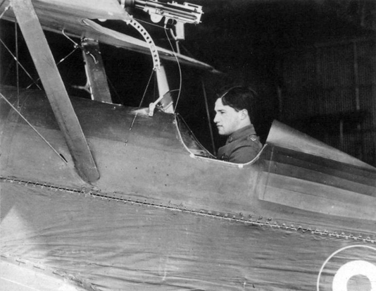 Albert Ball in the cockpit of his S.E.5