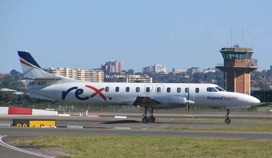 VH-KDO, a Metro 23 of Australian regional airline Regional Express (REX). The REX Metros have since been sold or transferred to subsidiary company Pel-Air.