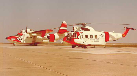 U.S. Coast Guard Grumman HU-16E Albatross and a Sikorsky HH-52A Seaguard in March 1964, probably at CGAS Mobile, AL
