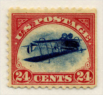Printed upside-down in error, the Curtiss JN-4 appears on a famous stamp, known as the