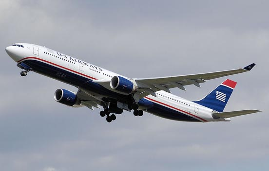 US Airways A330-300 taking off from London.