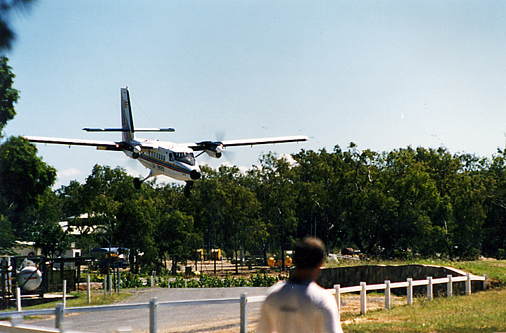 A Twin Otter making a normal landing approach in Queensland.