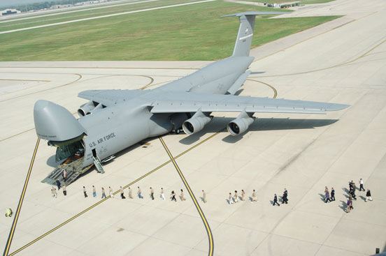 People line up to enter the 445th Airlift Wing's first C-5A Galaxy.