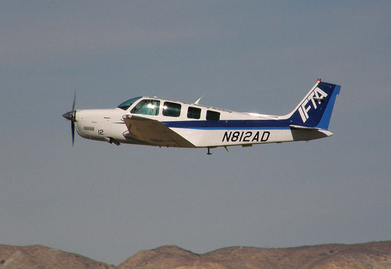 One of IFTA's A36 Bonanzas takes off from Mojave Airport