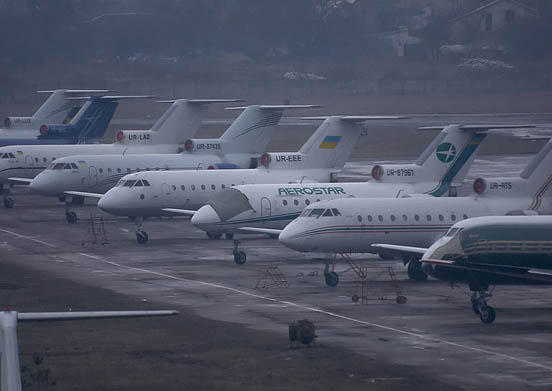 A lineup of Yak-40s at Zhulyany Airport in Kiev.