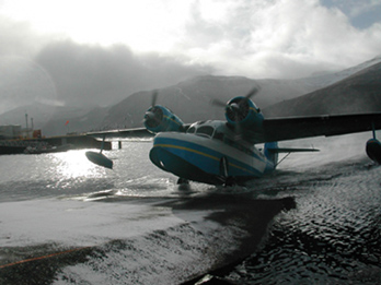 1942 Grumman Goose at Akutan, Alaska, operated by PenAir