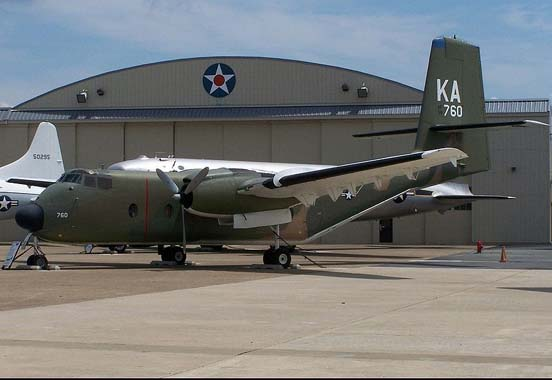 A C-7 Caribou in its Vietnam service colours at Dover AFB Air Mobility Command Museum in July 2007.