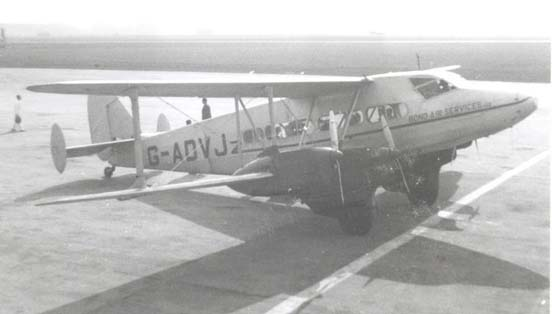 DH.86B G-ADVJ of charter airline Bond Air Services at Liverpool (Speke) Airport in March 1950