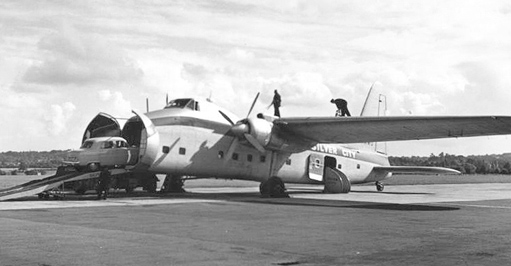 Silver City Airways Freighter 32 loading a car for Cherbourg at Southampton in September 1954