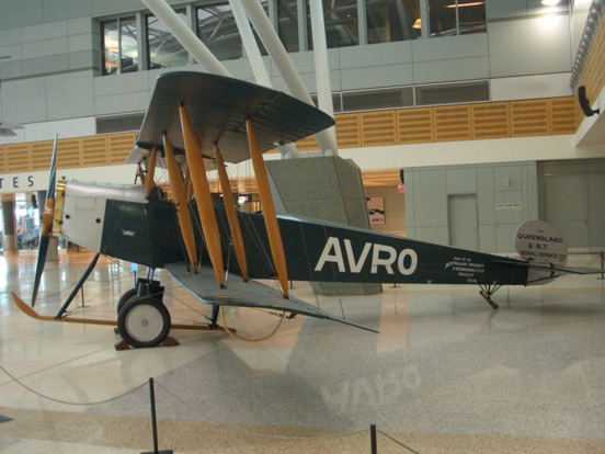 Qantas Avro 504K replica displayed at Qantas Domestic Terminal