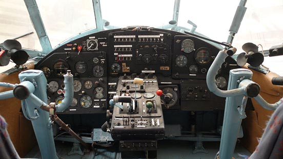 Cockpit of a 1971 ex-Aeroflot An-2 at the Historic Aircraft Restoration Museum. See also [5] for a very high resolution image of this cockpit.