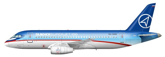 Sukhoi Superjet 100-95 in corporate livery.