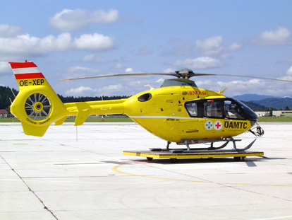 EC135 T2 air ambulance of the Austrian Air Rescue service in Klagenfurt, Austria