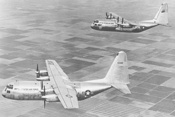 The two YC-130 prototypes; the blunt nose was replaced with radar on later production models.