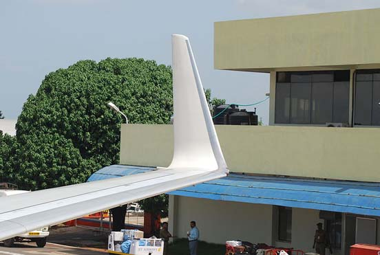 A blended winglet of a 737-800