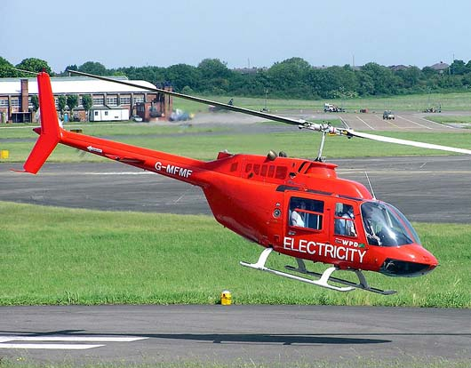 Bell 206B Jet Ranger III at Filton Airfield, Bristol, England. Used for electricity pylon patrols.