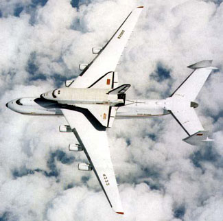 Space shuttle Buran being carried by the An-225