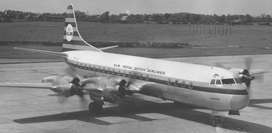 L188C Electra of KLM Royal Dutch Airlines operating a passenger service in July 1965