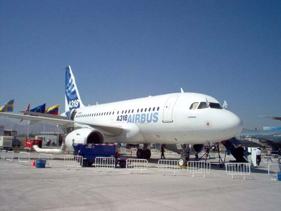 The Airbus A318, in Airbus's corporate livery in FIDAE in Santiago de Chile.