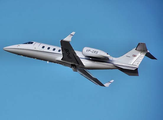Learjet 60 takes off