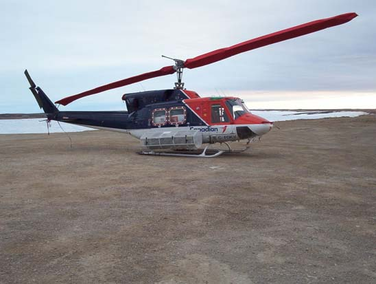 Bell 212 (C-FOKV) registered to Canadian Helicopters at Cambridge Bay Airport, Nunavut, Canada