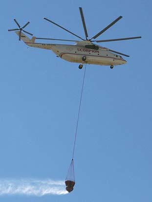A Mi-26TC in firefighter role in action over Athens