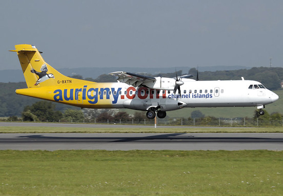 Aurigny Air Services ATR 72-200 lands at Bristol Airport, England