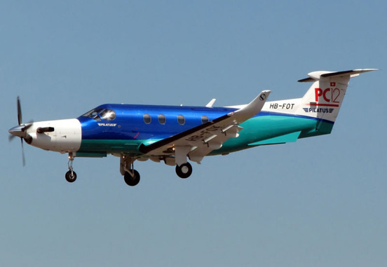Pilatus PC-12 in landing configuration