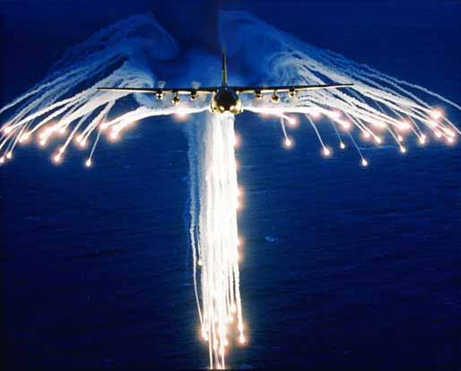 A Hercules deploying flares, sometimes referred as to Angel Flares due to the characteristic shape