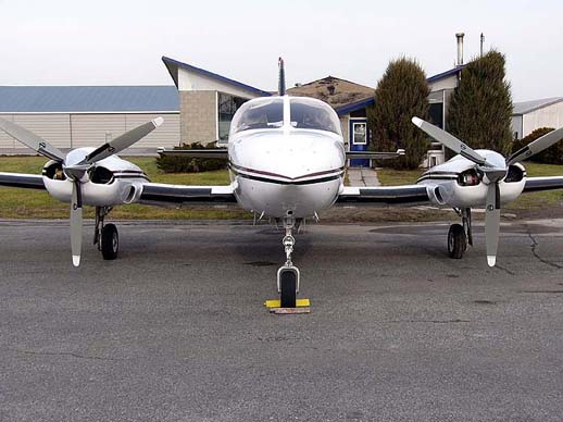 A Cessna 421B Golden Eagle, front view