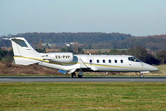 Learjet 60 lands at London Luton Airport, England