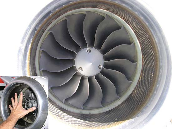 Engine inlet, with inset to show relative size of this small turbofan engine
