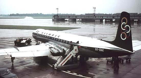 Olympic Airways Comet 4B at Manchester in 1966, showing engines buried in wing and revised round windows of all Comet 4s
