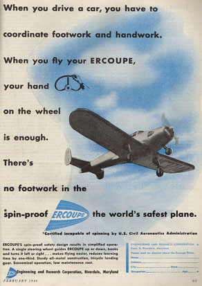 In February 1946, ERCO ran this full page ad for the Ercoupe