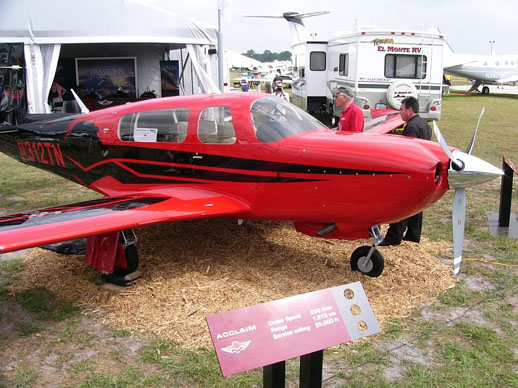 The prototype Mooney M20TN Acclaim N312TN on display at the Mooney Aircraft booth at Sun 'n Fun 2006