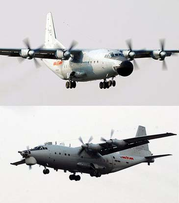 Y-8J Skymaster airborne early warning aircraft (top), Y-8X maritime patrol aircraft (below).